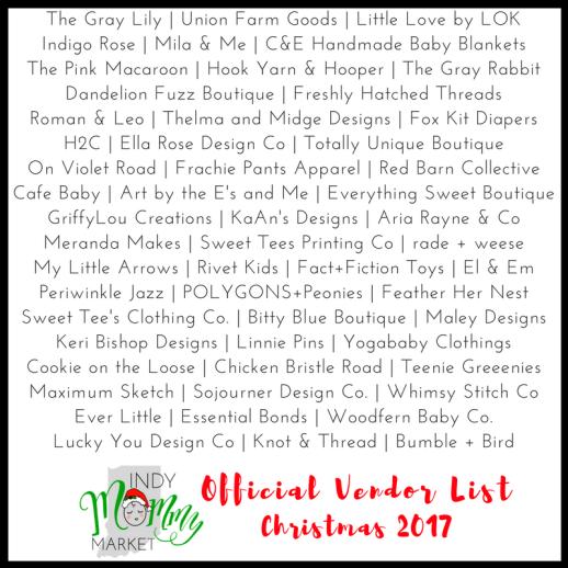 Christmas 2017 Official Vendor List